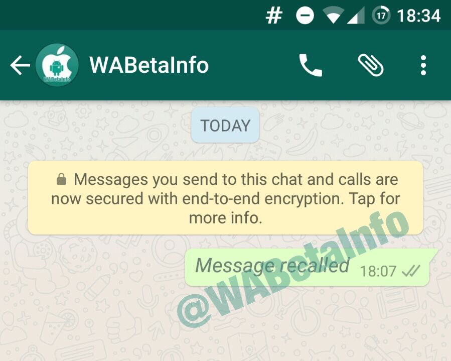 Excluir mensagem enviada whatsapp